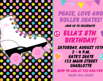 Roller Skating Birthday Party Invit Ation    Roller Skate Party