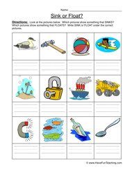 Sink Float Worksheet   Identify  Write Sink Or Float Beneath Each