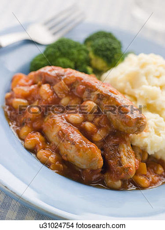 Stock Photo Of Sausage And Baked Bean Casserole With Mashed Potato And
