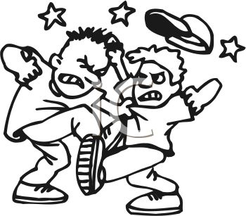 Two Boys Fighting   Royalty Free Clip Art Picture