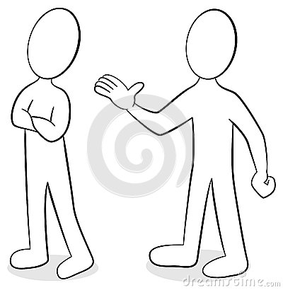 Vector Illustration Of Two People Are Of Different Opinion