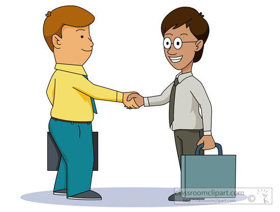 Business   Two Business Men Shaking Hands   Classroom Clipart