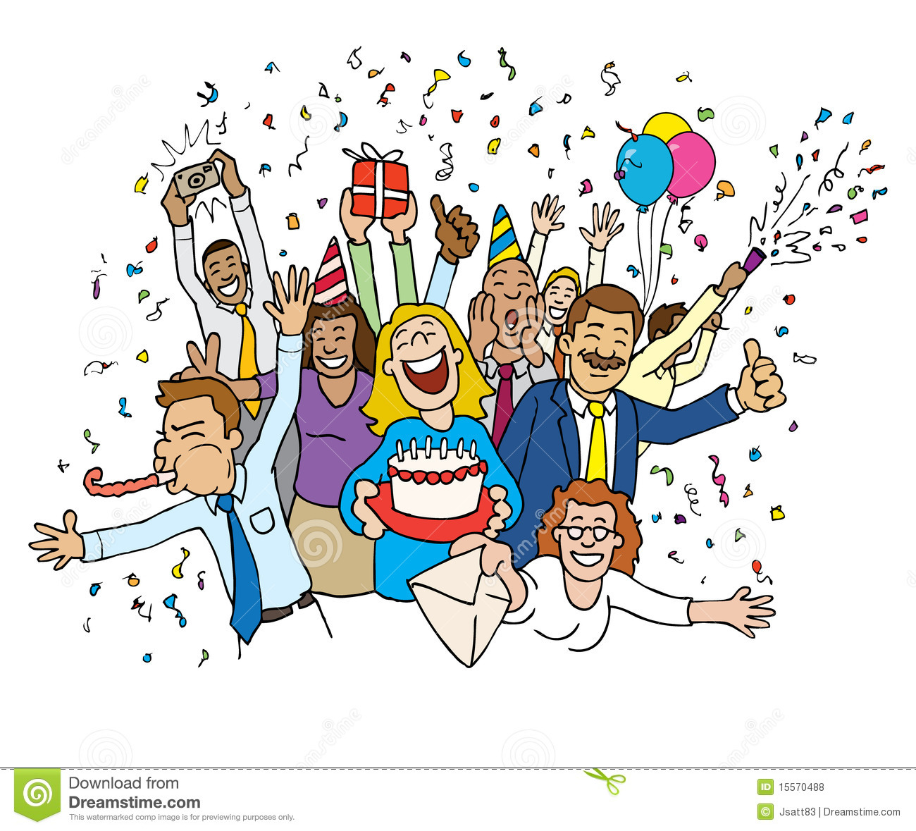Cartoon Office Celebration Royalty Free Stock Photos   Image  15570488