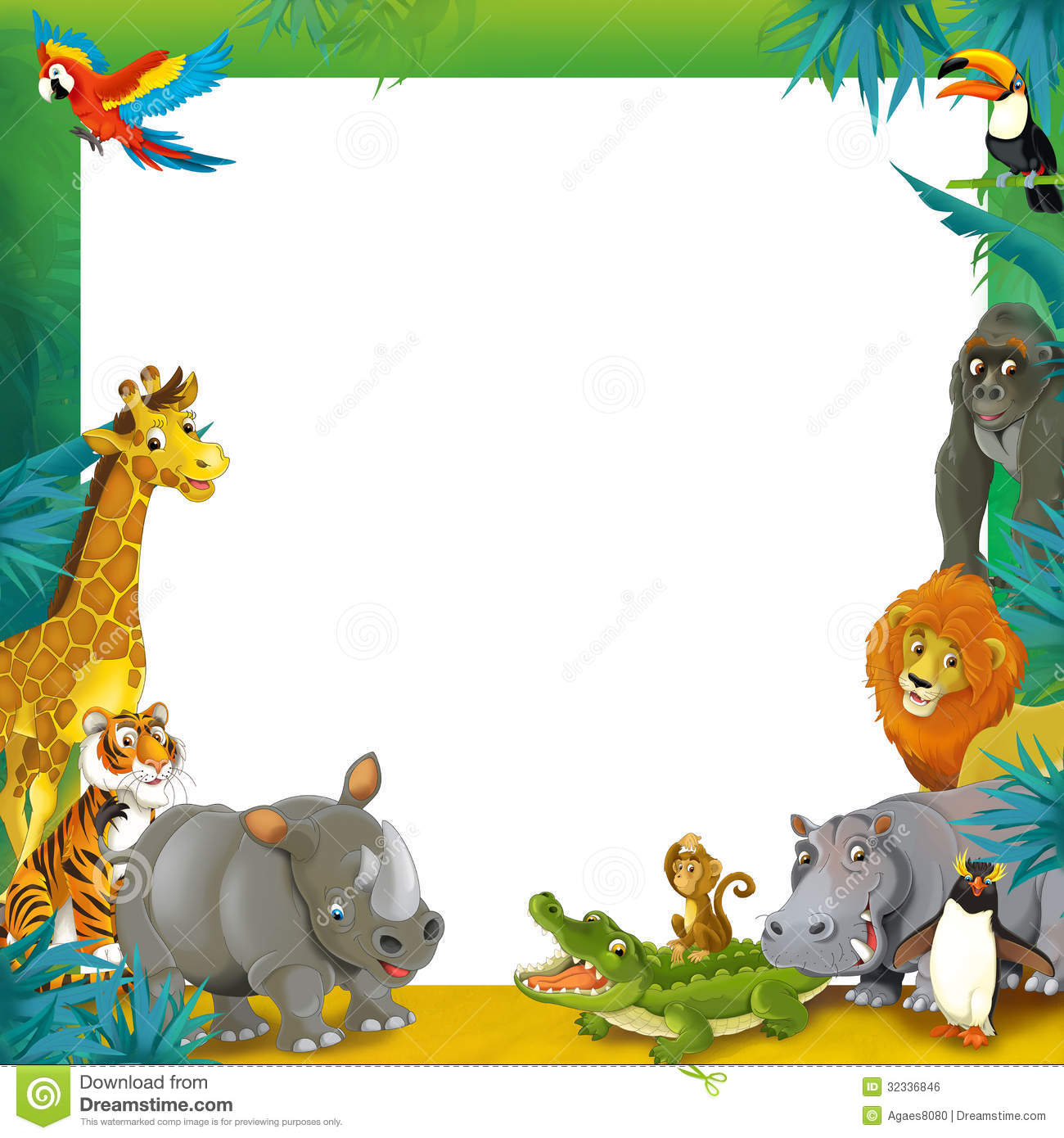 Baby Jungle Border Clipart - Clipart Suggest