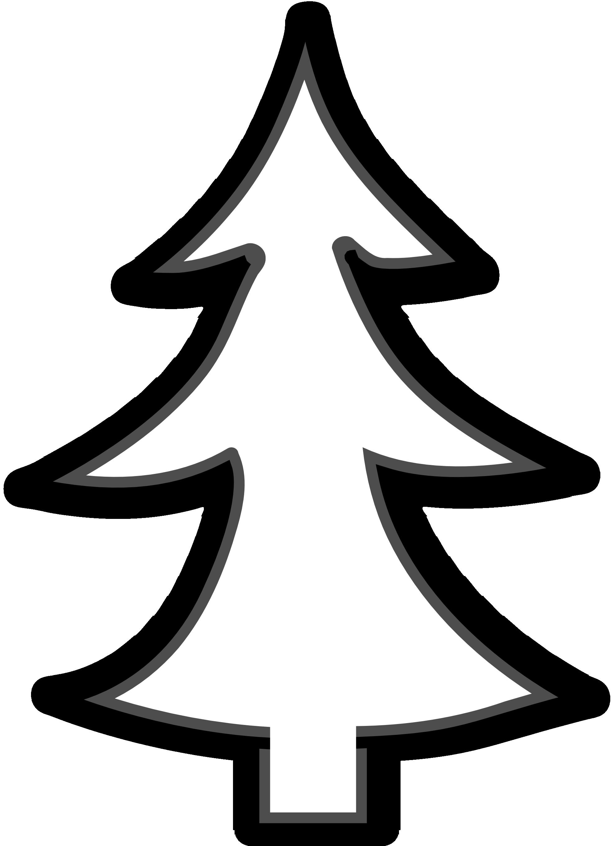 Christmas Tree Outline On Black Clipart - Clipart Kid