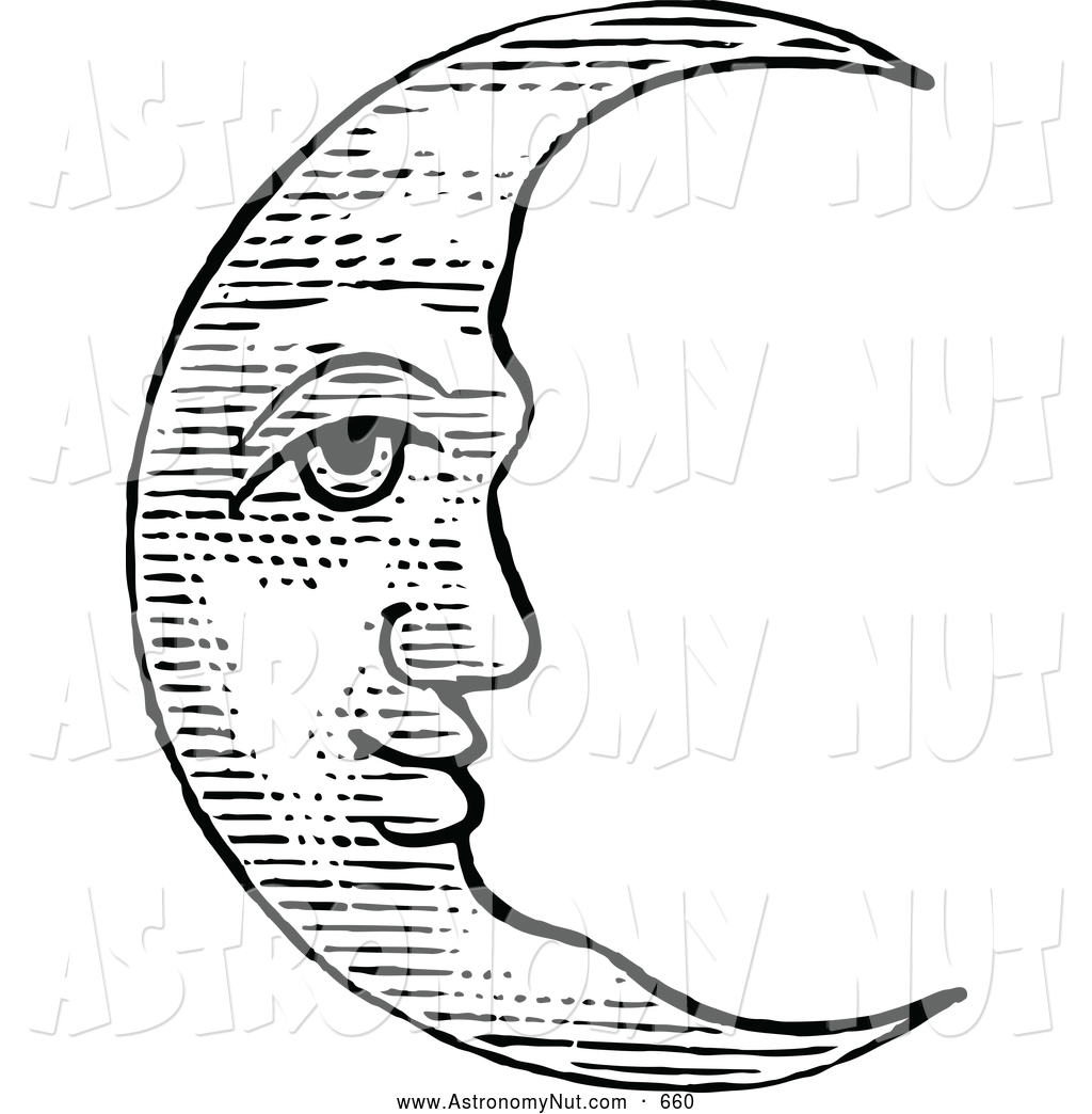 Clipart Of A Vintage Black And White Crescent Moon Calm Sleepy Face By