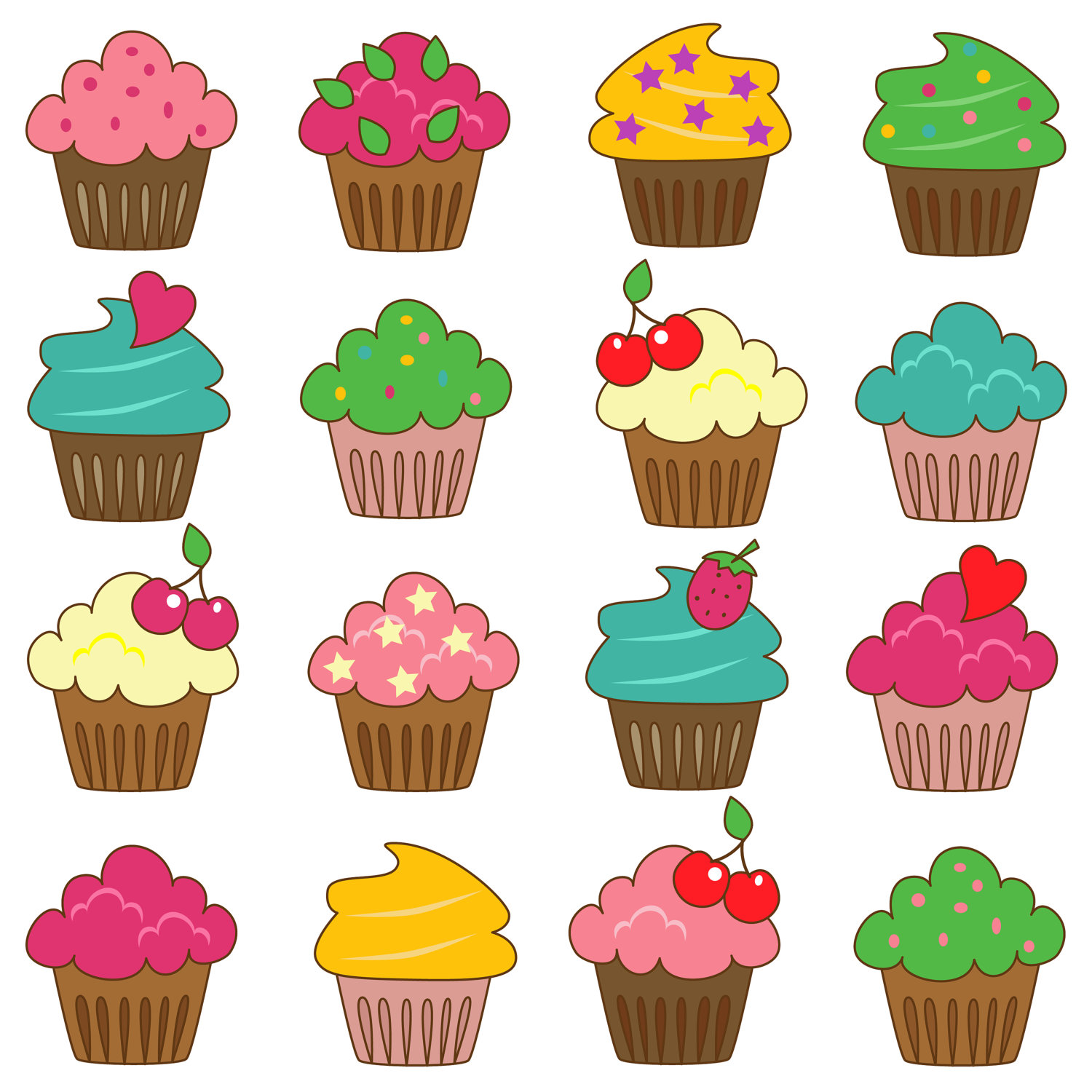 Cute Cupcake Images : Cute Cupcake Outline Clipart - Clipart Suggest
