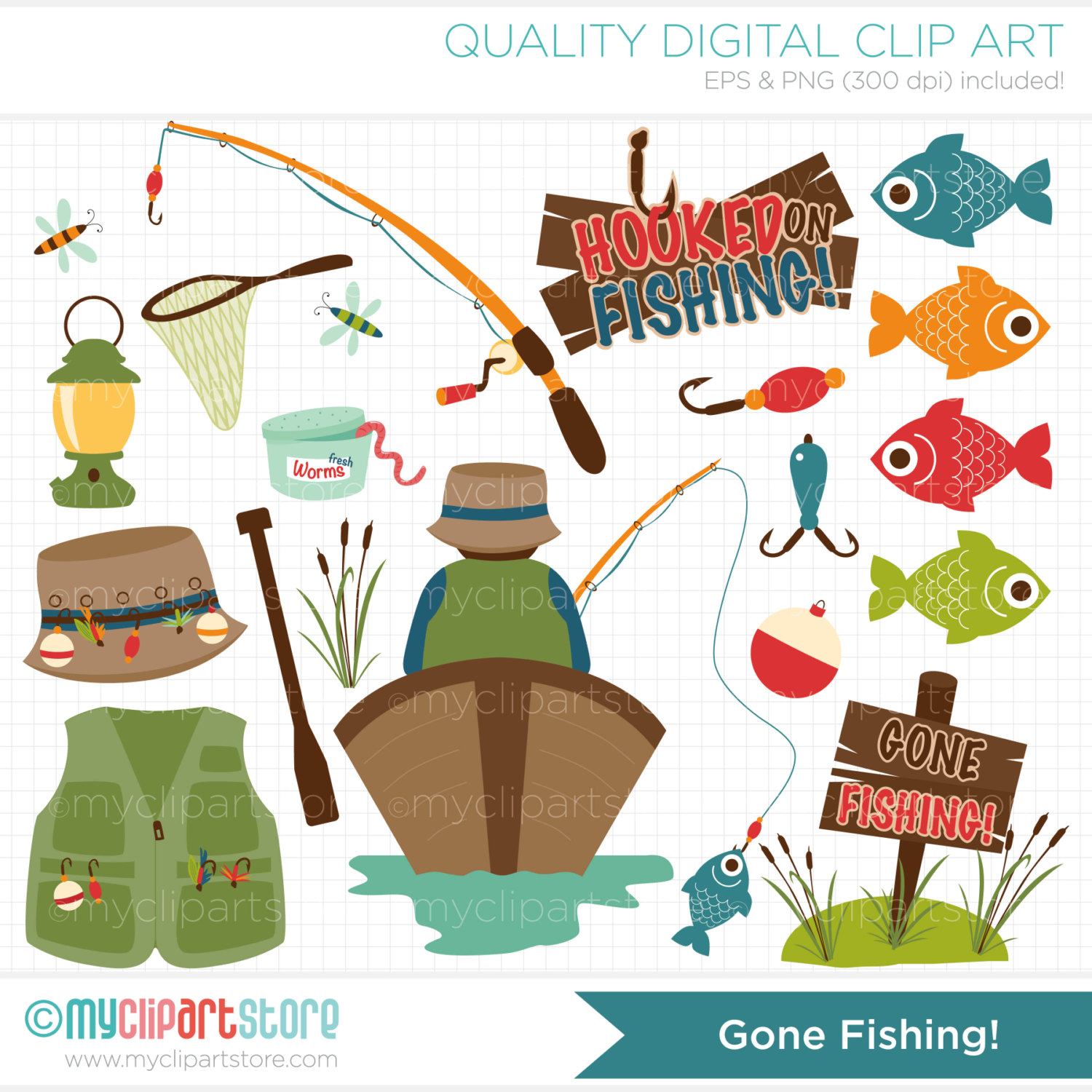 Father S Day   Gone Fishing Clip Art   Digital By Myclipartstore