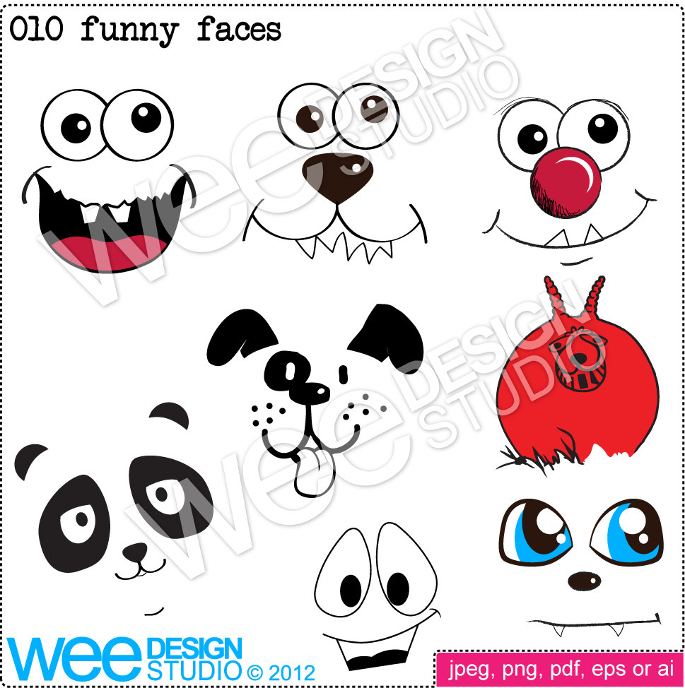 Funny Cute Animal Faces Digital Clipart By Weedesignstudio On Etsy