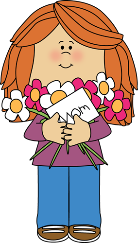Happy Mother S Day Girl Clip Art Image   Girl Holding Mother S Day