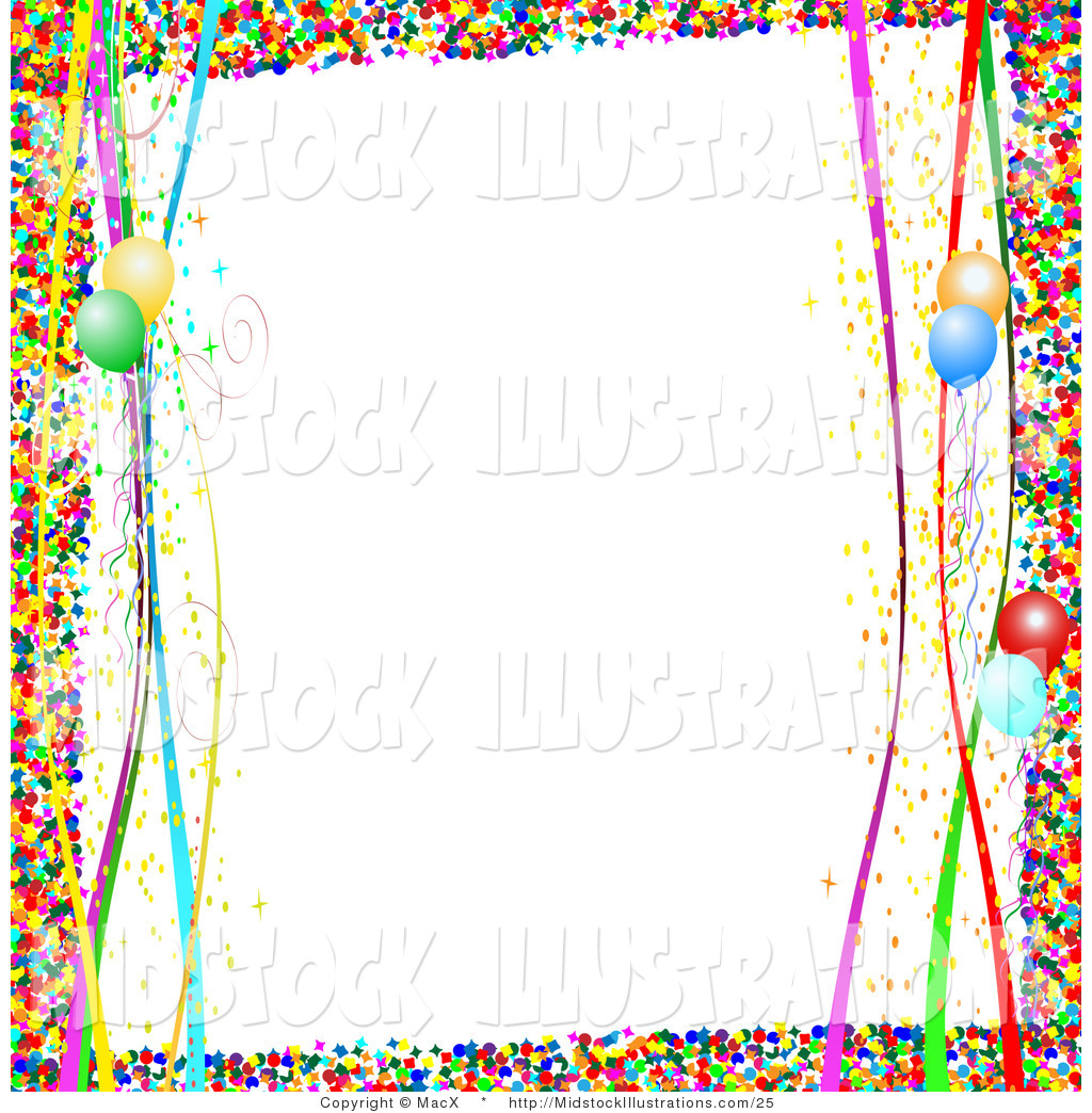 Illustration Of A Colorful Confetti Party Border With Streamers And