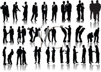 Silhouettes Of Business Men And Women   Royalty Free Clip Art Picture