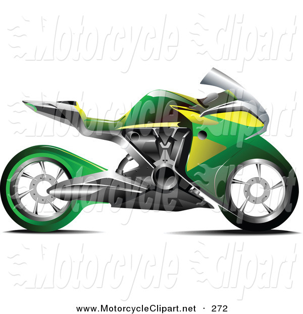Transportation Clipart Of A Green Crotch Rocket Motorcycle By Leonid
