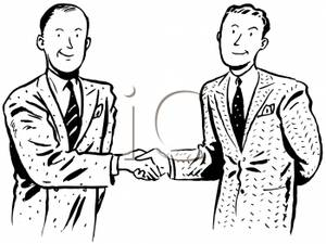 Two Men Shaking Hands Over A Business Deal   Royalty Free Clipart