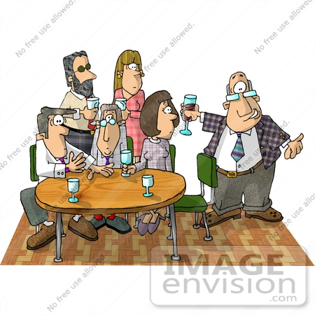 Two Women And Four Men At An Office Party Clipart    18859 By Djart