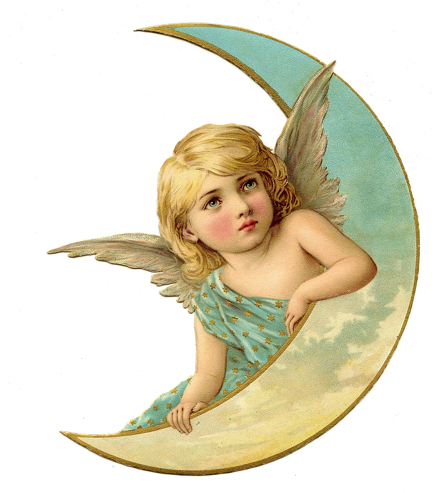 Vintage Christmas Image   Amazing Angel On Moon   The Graphics Fairy