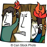 Angry Torch Bearers   Cartoon Of An Angry Mob Bearing