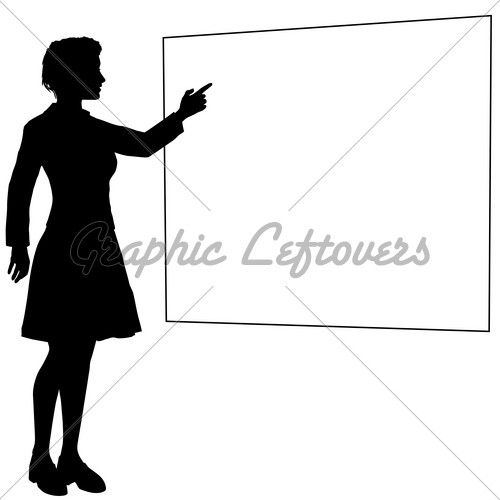 Business Woman Or Teacher Points Hand Sign Board   Gl Stock Images