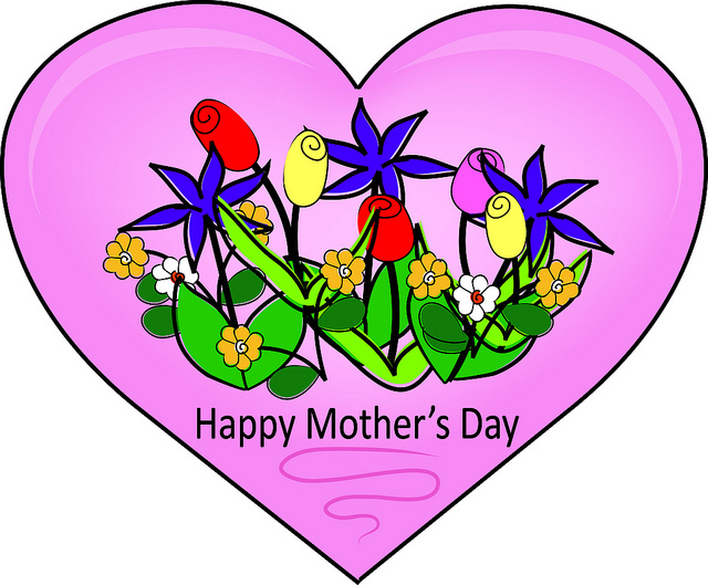 Clip Art Illustration Of A Happy Mother S Day Heart With Flowers