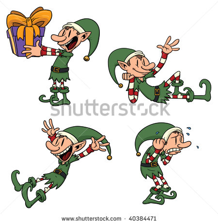 Cute Cartoon Elf In Different Poses  All Elements In Separate Layers