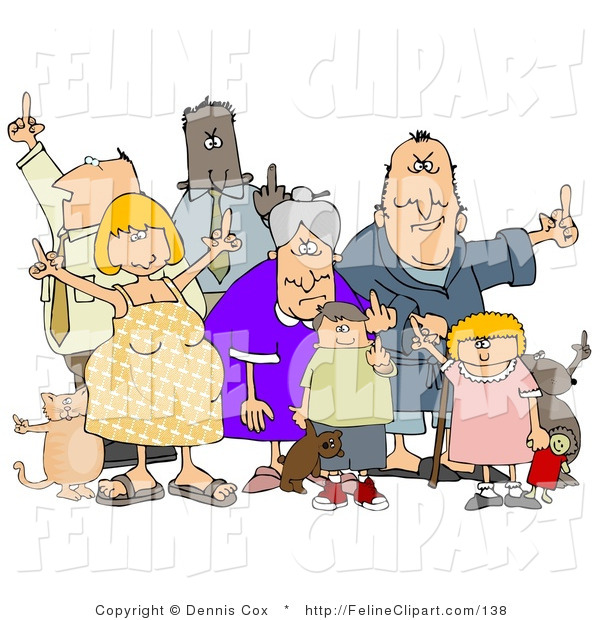 Feline Clip Art Of A Mob Of Mad People Of All Ages And Mixed