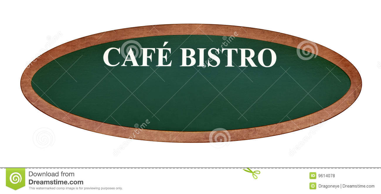 French Cafe Bistro Sign Board Oval Shape Isolated On White Background