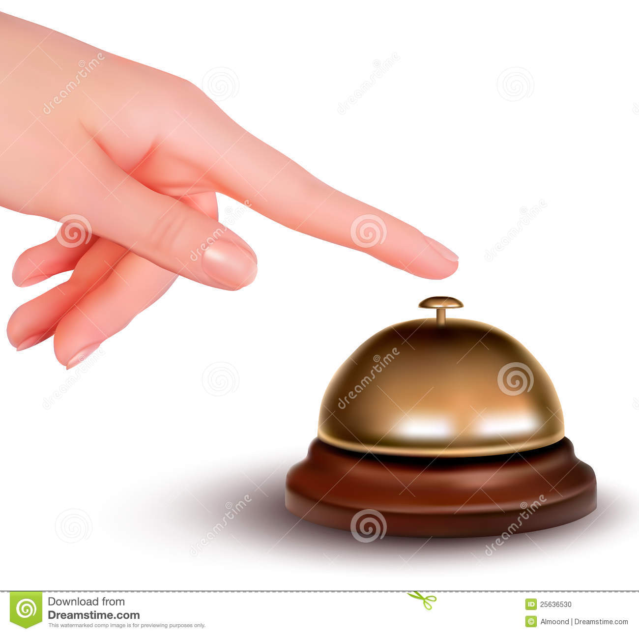 Hand Ringing The Bell To Call Service Desk Vector Illustration