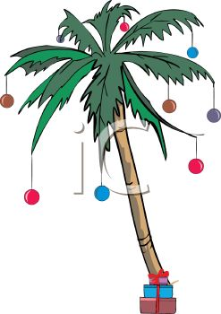 Palm Tree Decorated For A Tropical Christmas   Royalty Free Clip Art