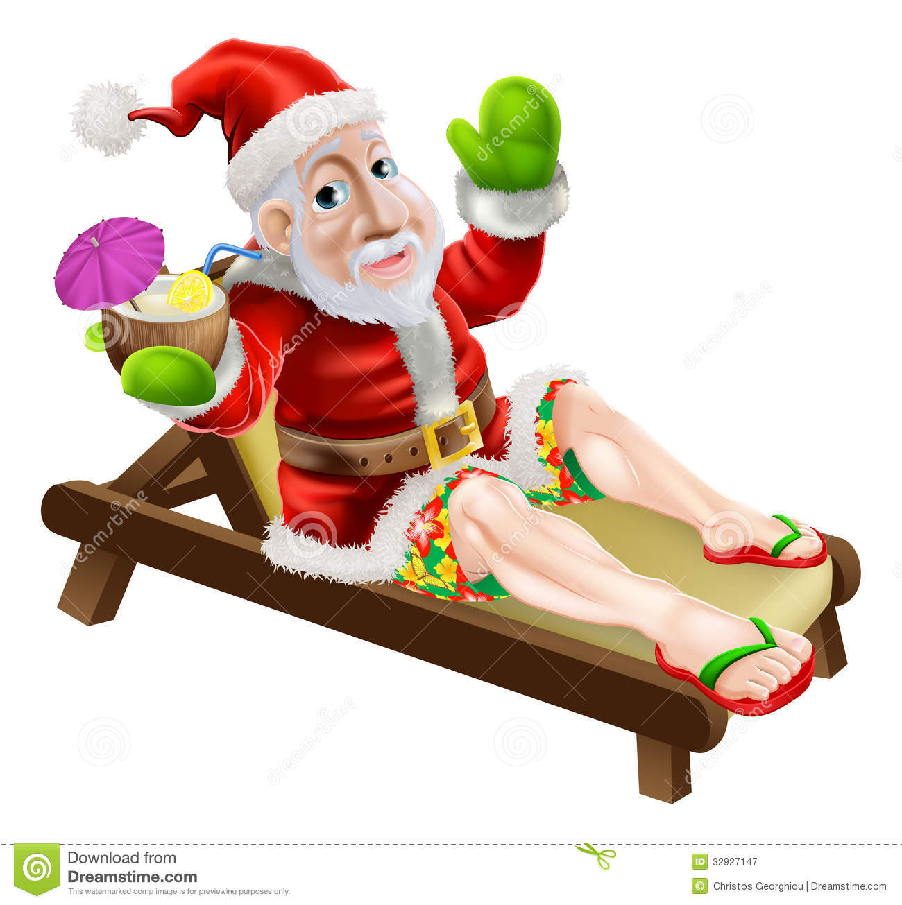 Santa Claus On A Hot Christmas Holiday Relaxing In A Sun Lounger On