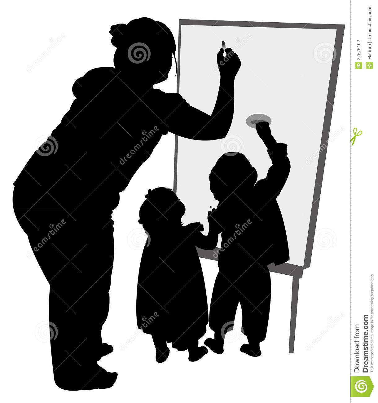 Teacher And Children Writing On Board Black Color Silhouette Vector