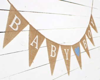 Baby Boy Burlap Banner With Hearts Baby Announcement Baby Shower