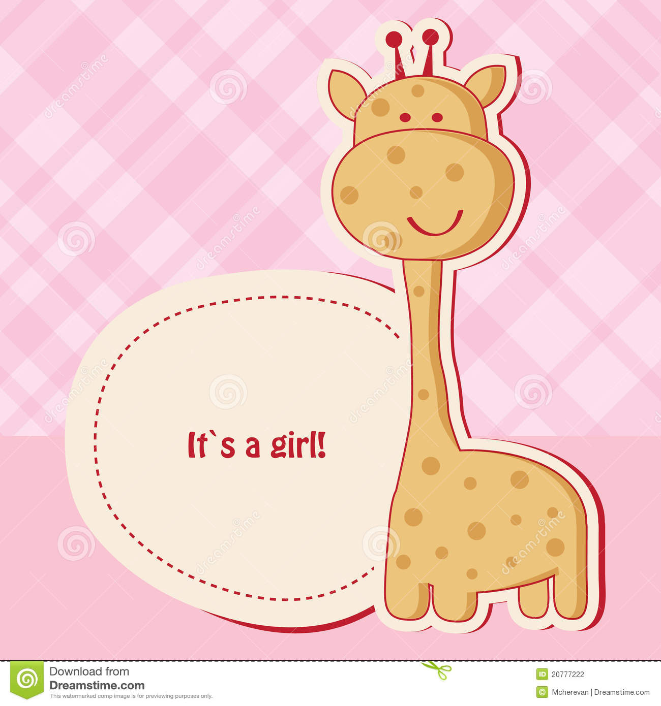 Baby Girl Shower Card With Giraffe Stock Photography   Image  20777222