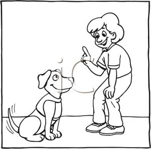 Black And White Cartoon Of A Boy Teaching His Dog To Sit And Wait