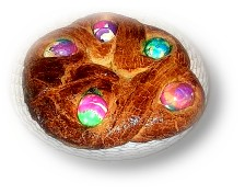 Bread With Colored Eggs Embedded In The Dough  Informs Dolores Skrout