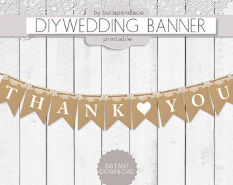 Burlap Lace Digital Banne R Thank You Bunting Wedding Banner Heart