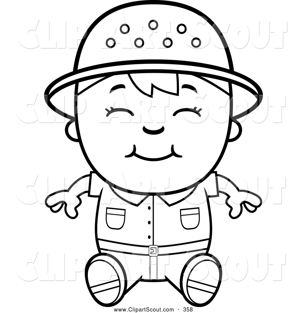 Clipart Of A Cute Black And White Happy Safari Boy Sitting By Cory