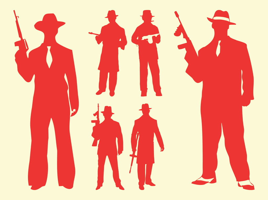 Gangster Silhouette Clip Art Gangster Silhouettes