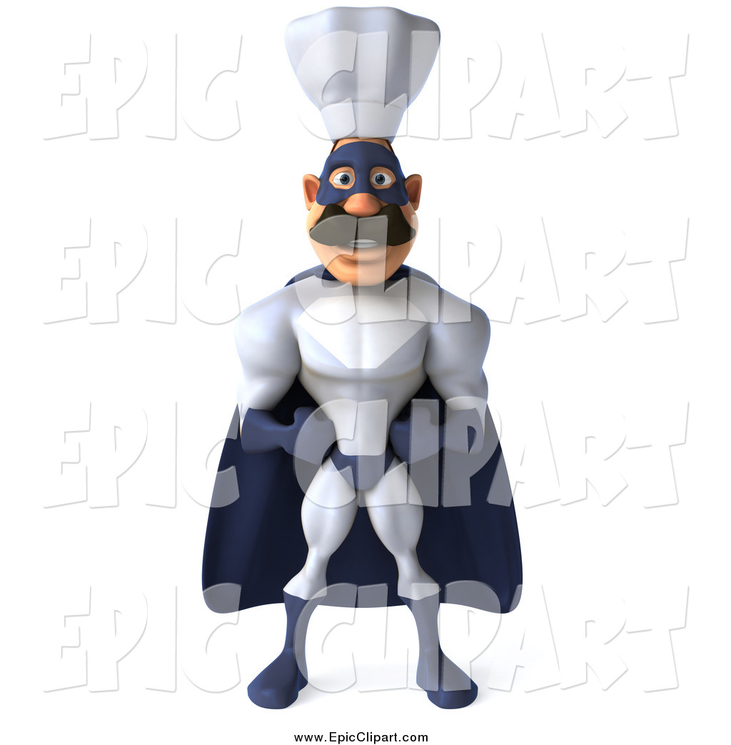 Larger Preview  Clip Art Of A 3d Happy White Male Super Hero Chef