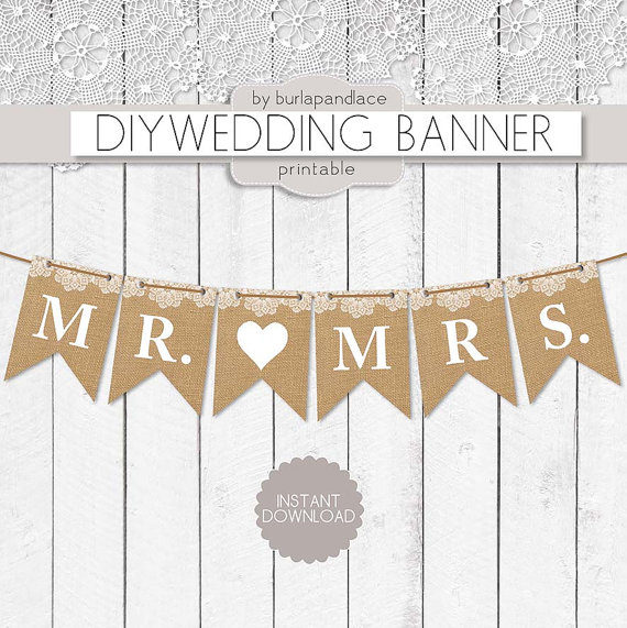 Mr  And Mrs Burlap Lace Digital Banner Mr  And Mrs  Bunting Wedding