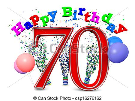 Stock Illustration Of Happy 70th Birthday Happy Birthday With