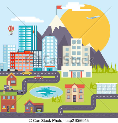 Urban community map clipart clipart suggest for Mountain designs garden city