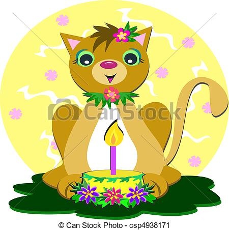 Vector Clip Art Of Cat With Birthday Cake   Here Is A Happy Cat