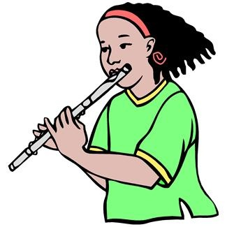 Young Girl Playing Flute   Clip Art Art Online Young Girls