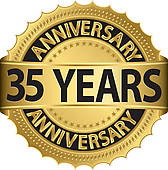 35 Years Anniversary Golden Label   Clipart Graphic