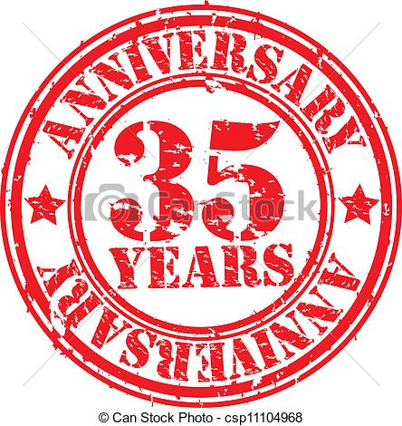 35 Years Anniversary Rubber Stamp Vector Csp11104968   Search Clipart