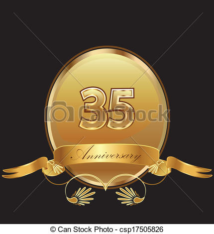 35th Anniversary Birthday Seal In Gold Design With Bow Icon Vector