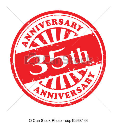 35th Anniversary Grunge Rubber Stamp   Csp19263144