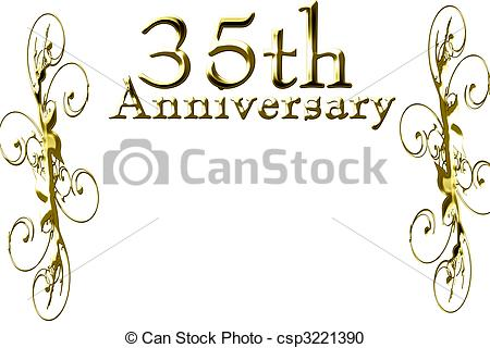 35th Anniversary On A Solid White Background