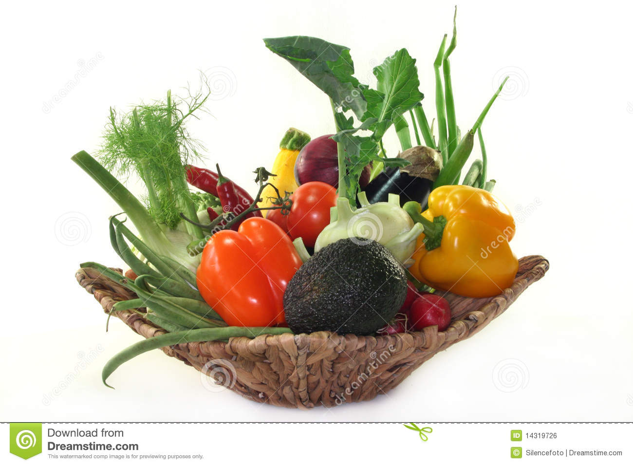 Basket Filled With Various Vegetables