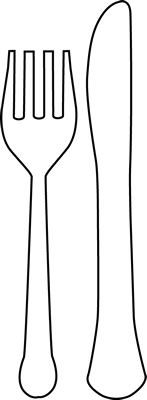 Black And White Fork And Knife Clip Art   Black And White Fork And